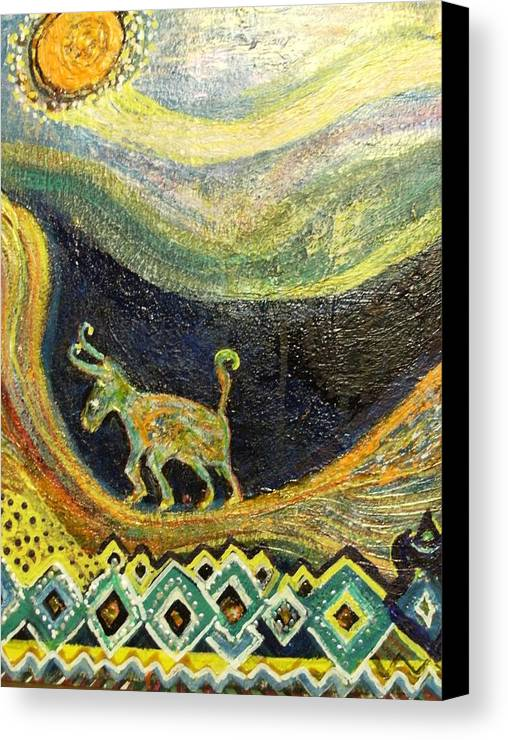 Path Canvas Print featuring the painting  Traveling Life From The Valley To The Sun by Anne-Elizabeth Whiteway