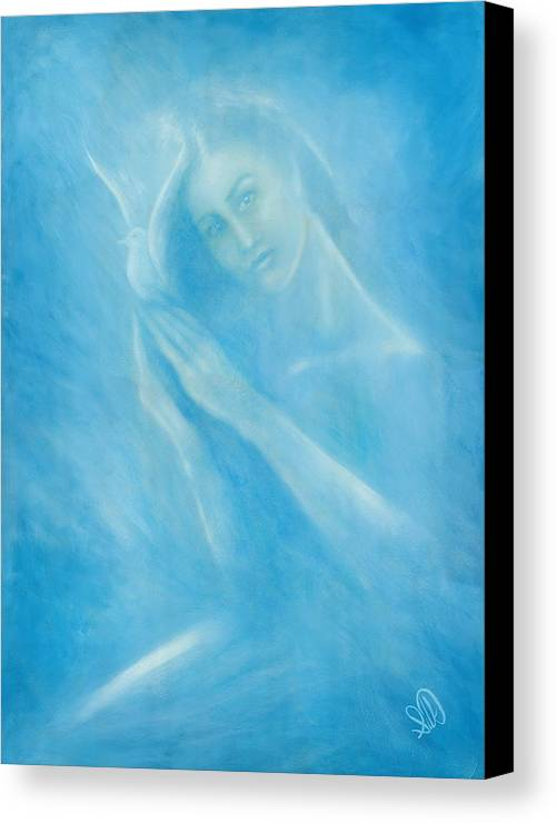 Love Canvas Print featuring the painting Angel With Dove by Elizabeth Silk