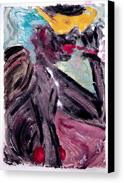 Nudes Canvas Print featuring the painting Black Smoker by John Toxey