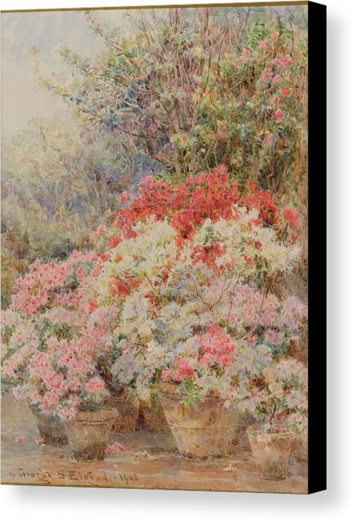 George Samuel Elgood (1851-1943) Cottage Garden Canvas Print featuring the painting Cottage Garden by George Samuel
