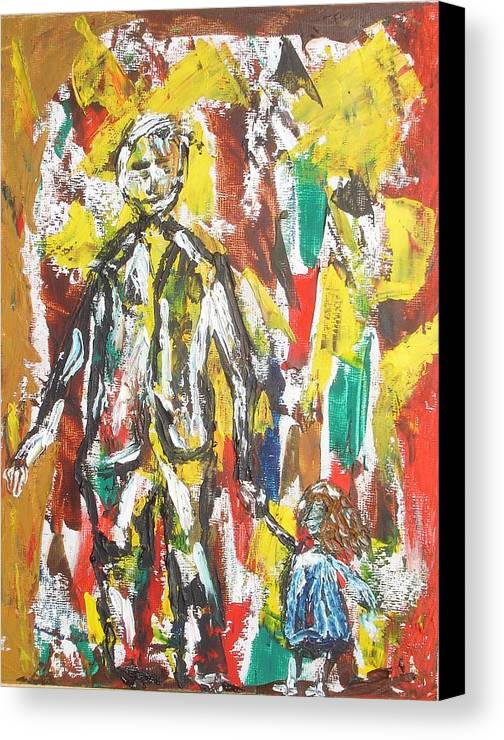 Act Canvas Print featuring the painting Father And Daughter by Roger Cummiskey