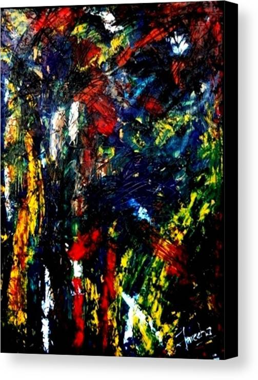 Abstract Canvas Print featuring the painting Ghost Of Us by Fareeha Khawaja