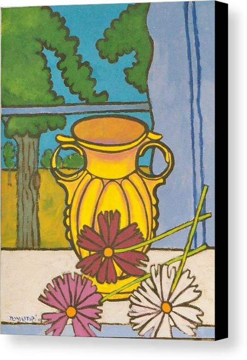Mccoy Canvas Print featuring the painting Mccoy Vase With Cosmos by Nicholas Martori