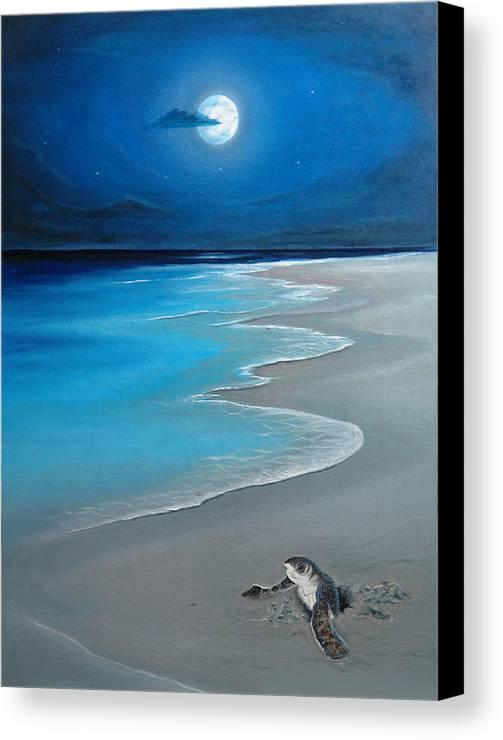 Seascape Art Canvas Print featuring the painting First Born by Angel Ortiz
