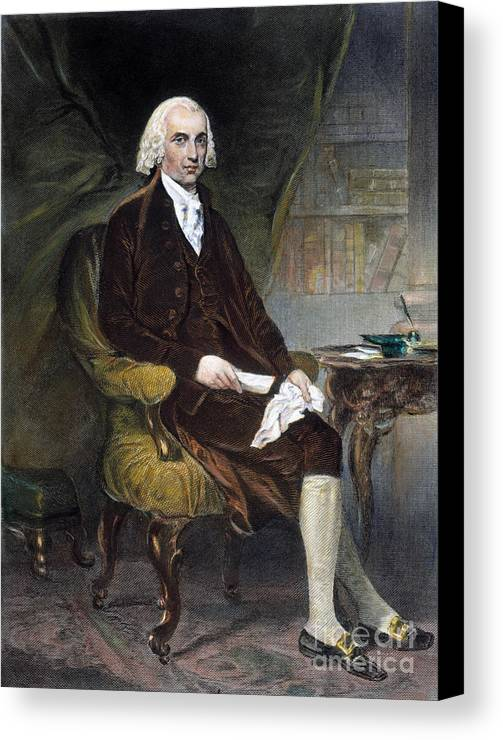 19th Century Canvas Print featuring the photograph James Madison (1751-1836) by Granger