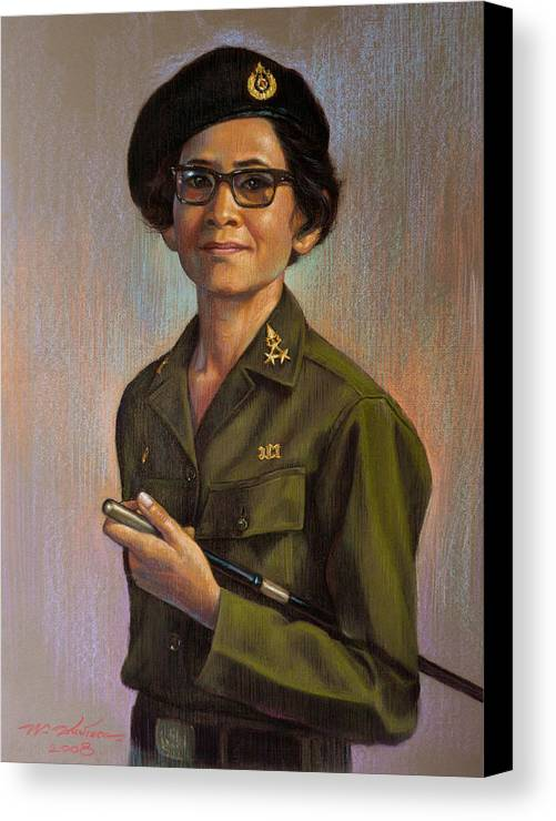Woman Canvas Print featuring the painting Untitled by Chonkhet Phanwichien