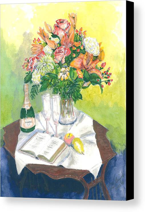 Still Life Canvas Print featuring the painting A Champagne Moment by Dan Bozich