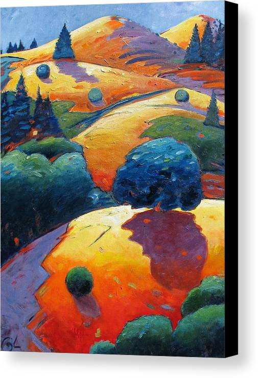 Hills Canvas Print featuring the painting A Different Kind Of Blue Tree by Gary Coleman