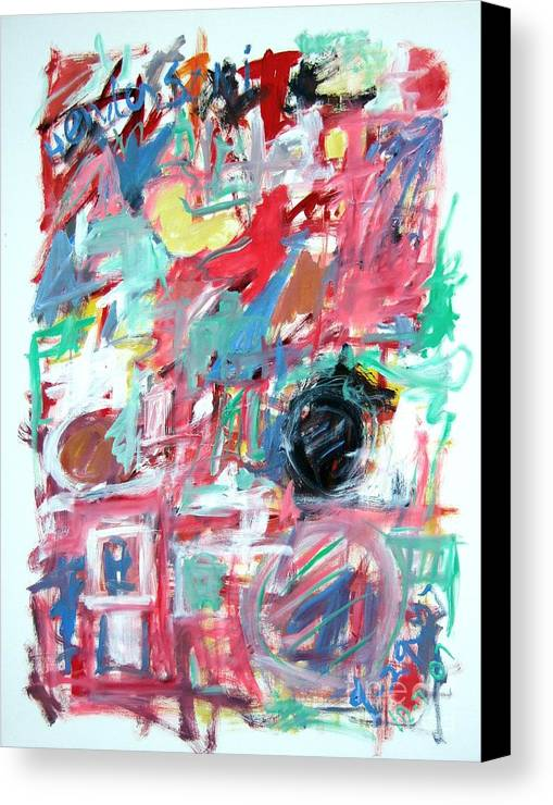 Abstract Canvas Print featuring the painting Abstract With Blue Date by Michael Henderson