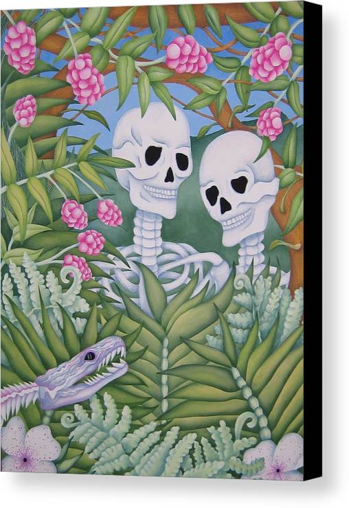 Calavera Canvas Print featuring the painting Adam And Eve by Jeniffer Stapher-Thomas