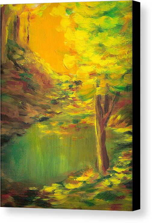 Landscape Canvas Print featuring the painting Aldergrove Lake by Vivian Mosley