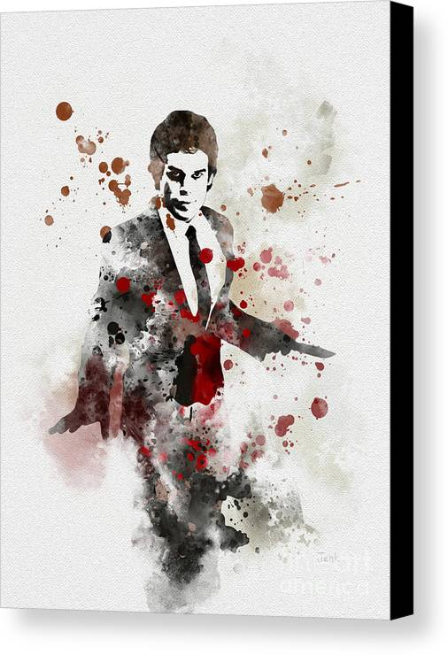 Dexter Canvas Print featuring the mixed media America's Favourite Serial Killer by Rebecca Jenkins
