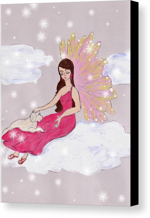 Hand Drawn Canvas Print featuring the drawing Angel And Her Puppy by Rosalie Scanlon