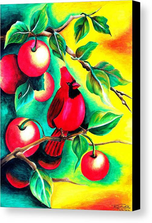 Green Canvas Print featuring the painting Angry Bird by Bijna Balan