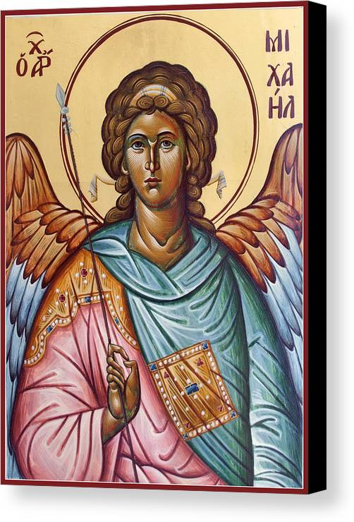 Icon Canvas Print featuring the painting Archangel Michael by Julia Bridget Hayes