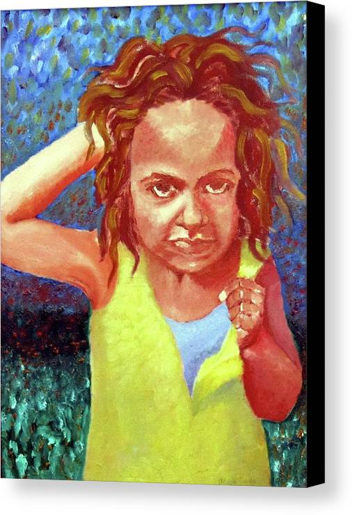 Portrait Canvas Print featuring the painting Attitudinal by Alima Newton