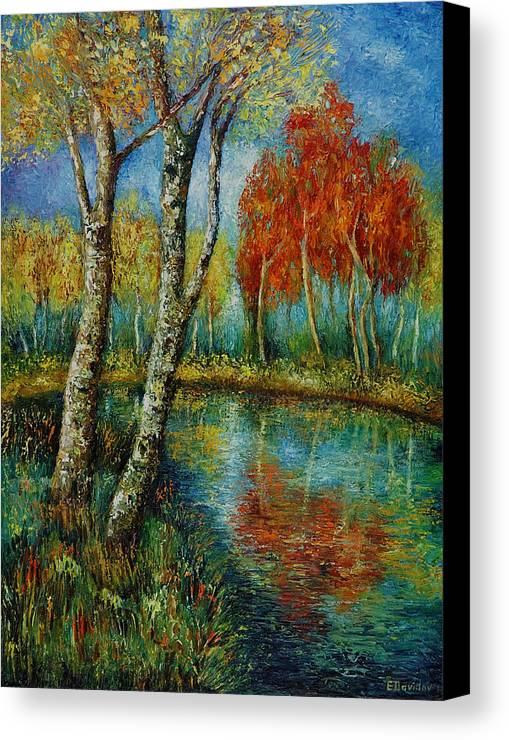 Landscape Canvas Print featuring the painting Autumn Day. by Evgenia Davidov
