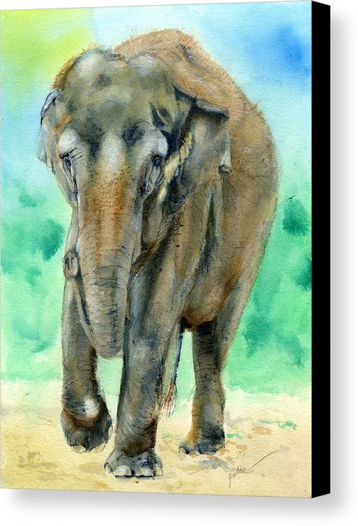 Elephant Canvas Print featuring the painting Bamboo by Galen Hazelhofer