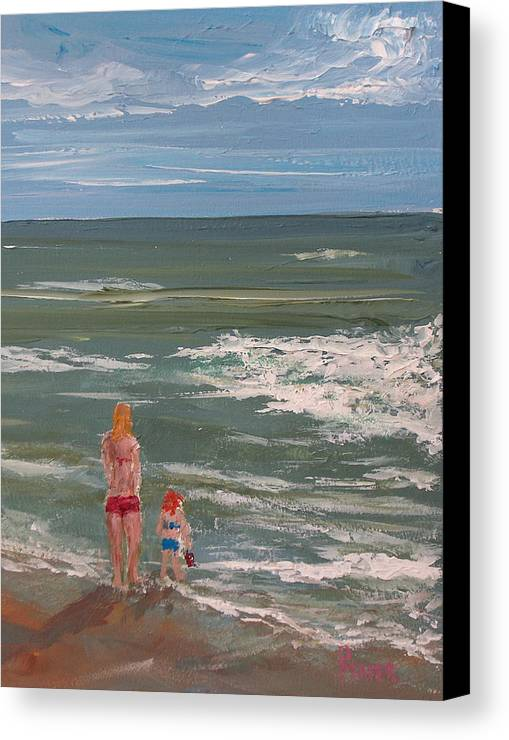 Seascape Canvas Print featuring the painting Beach Babes by Pete Maier