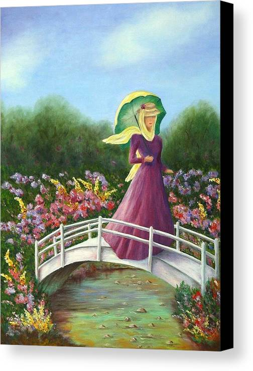 Lady With Flowers Canvas Print featuring the painting Beauty Wherever She Goes by Merle Blair