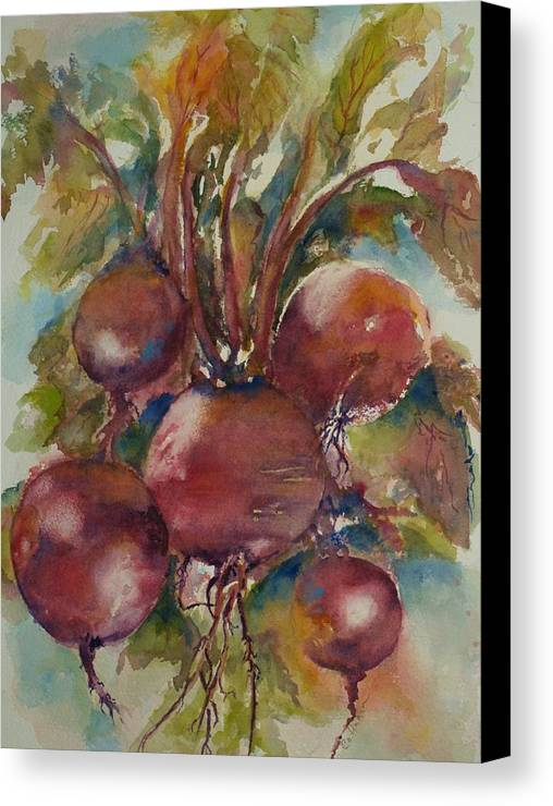 Lynn Callahan Art; Lynn Callahan Painting; Lynn Callahan Watercolor; Paintings Of Beets; Paintings Of Vegetables; Paintings Of Red Vegetables Canvas Print featuring the painting Beet It by Lynn Callahan