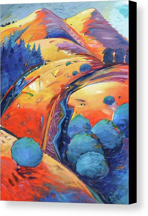 Hills Canvas Print featuring the painting Blue And Gold by Gary Coleman