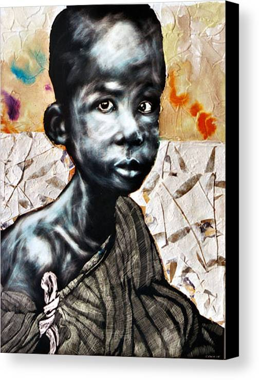 Portriat Canvas Print featuring the mixed media Blue Boy In A Big Sweater by Chester Elmore