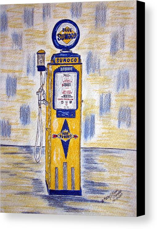 Blue Sunoco Canvas Print featuring the painting Blue Sunoco Gas Pump by Kathy Marrs Chandler