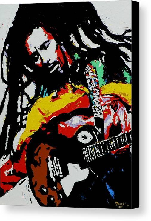 Reggae Canvas Print featuring the painting Bob Marley by Eddie Lim