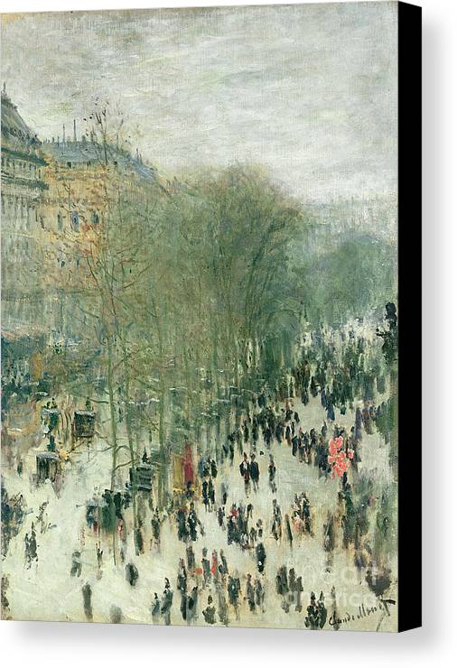 Boulevard Canvas Print featuring the painting Boulevard Des Capucines by Claude Monet