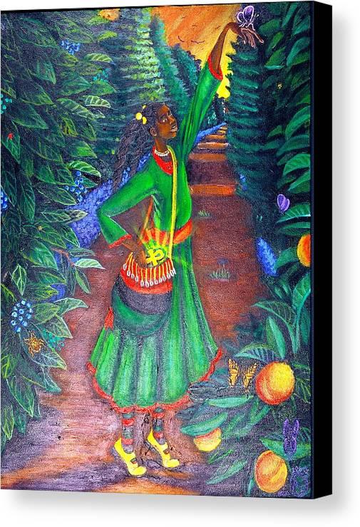 Maliksart Canvas Print featuring the painting Buggin Out by Malik Seneferu