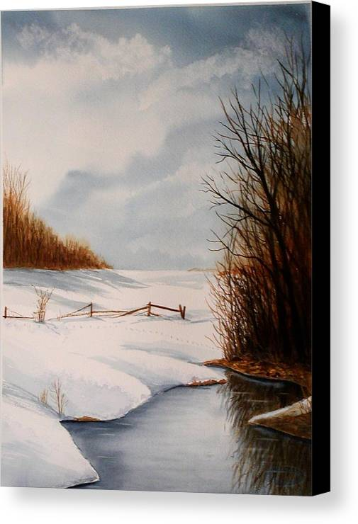 Winter Canvas Print featuring the painting Bunny Trail by Sharon Steinhaus