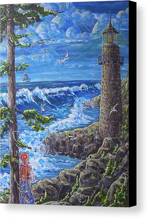Seascape Canvas Print featuring the painting By The Sea by Phyllis Mae Richardson Fisher