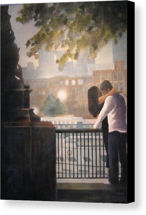 Lovers Canvas Print featuring the painting Call Me by Victoria Heryet