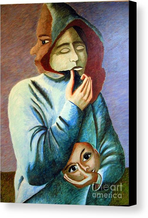 Identity (symbolic Art) Canvas Print featuring the painting Can I Hide My Identity Can I Play A Role by Tanni Koens