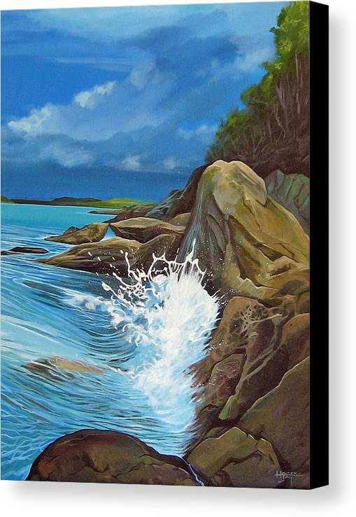 Ocean Canvas Print featuring the painting Cerulean by Hunter Jay