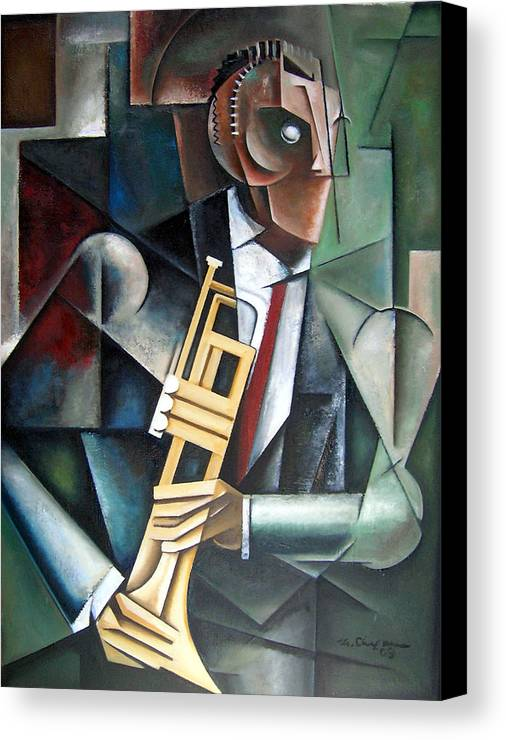 Miles Davis Jazz Trumpet Cubism Canvas Print featuring the painting Changeling by Martel Chapman