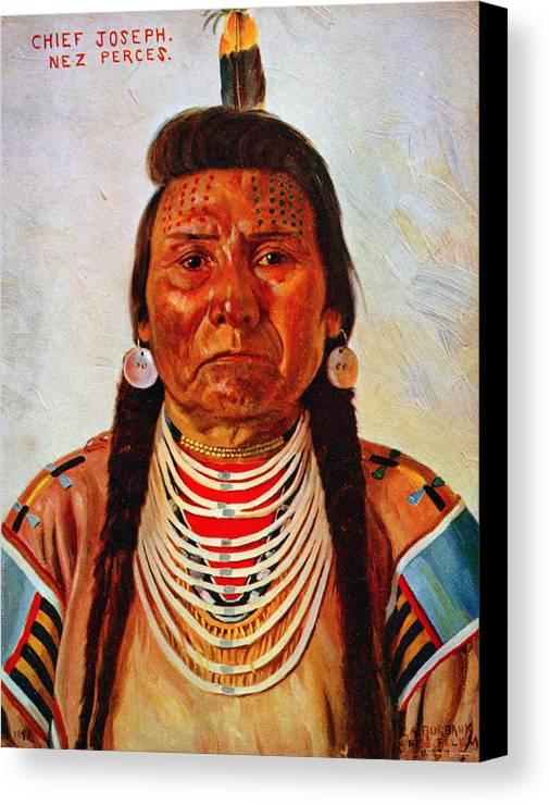 1890s Canvas Print featuring the photograph Chief Joseph, Nez Perc� Chief by Everett