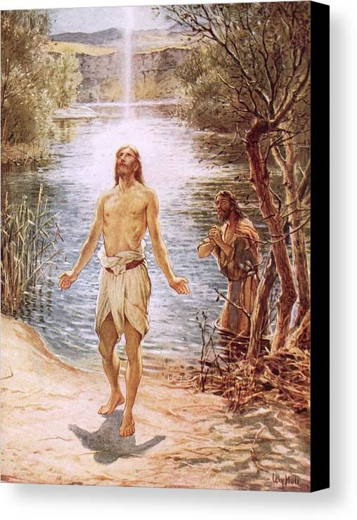 Christ Baptised By John The Baptist By William Brassey Hole (1846-1917)lake Canvas Print featuring the painting Christ Baptised By John The Baptist by William Brassey Hole