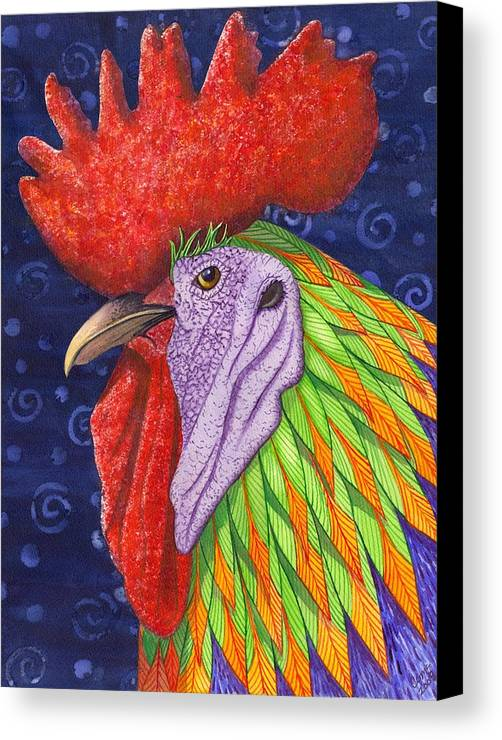 Rooster Canvas Print featuring the painting Cock A Doodle Dude IIi by Catherine G McElroy