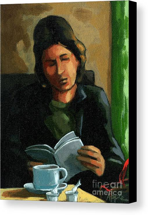 Cafe Canvas Print featuring the painting Coffee Time by Linda Apple