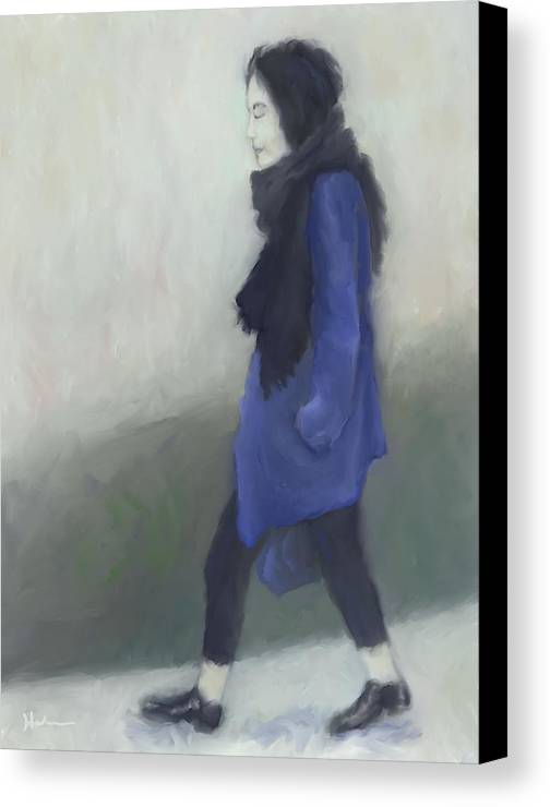 Woman Canvas Print featuring the painting Cold Seattle Rain by Suryadas Joel Holliman