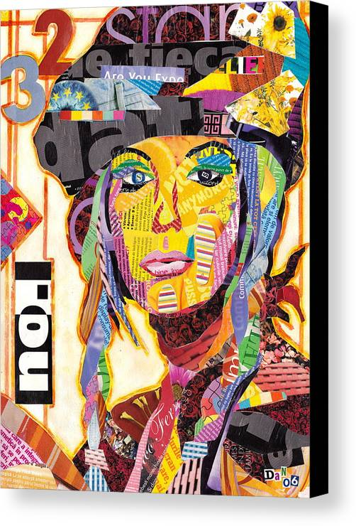 Collage Canvas Print featuring the mixed media Collage Portrait by Oprisor Dan