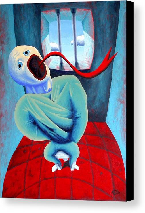 Scream Surreal Jail Dream Canvas Print featuring the painting Confined by Poul Costinsky
