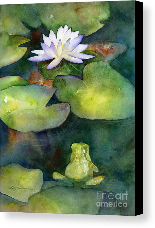 Koi Canvas Print featuring the painting Coy Koi by Amy Kirkpatrick