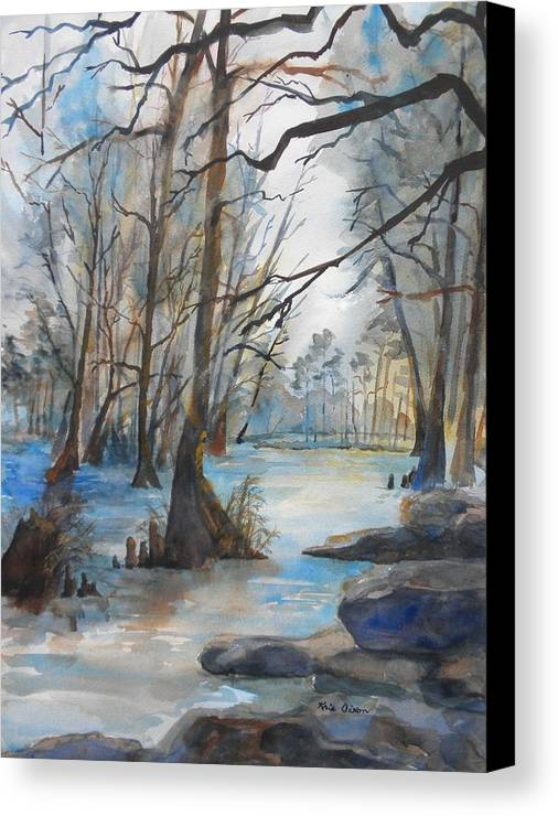 Landscape Canvas Print featuring the painting Cypress Knees by Kris Dixon