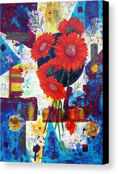 Daisy Flower Red Abstract Modern Collage Mixed Media Acrylic  Canvas Print featuring the painting Dance Of The Daisies by Terry Honstead