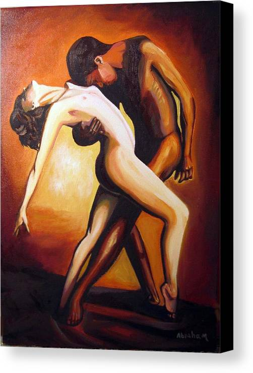 Nude Canvas Print featuring the painting Dancing by Jose Manuel Abraham