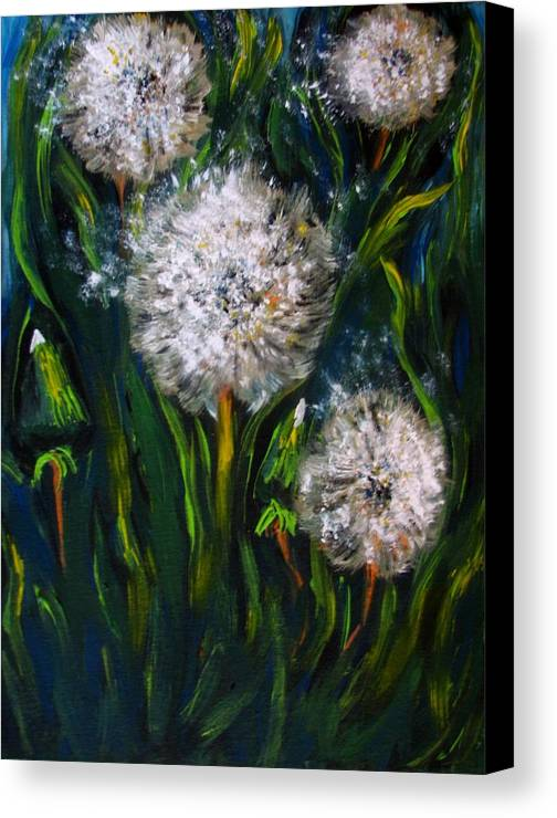 Flower Art Canvas Print featuring the painting Dandelions Acrylic Painting by Natalja Picugina