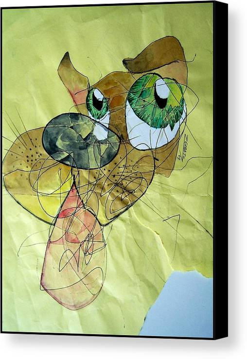 Scribbles Canvas Print featuring the digital art Dog by Paulo Zerbato